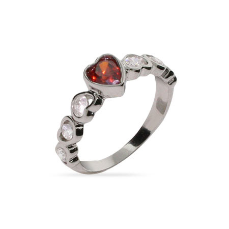 Pretty Red CZ Heart Linked Sterling Silver Ring