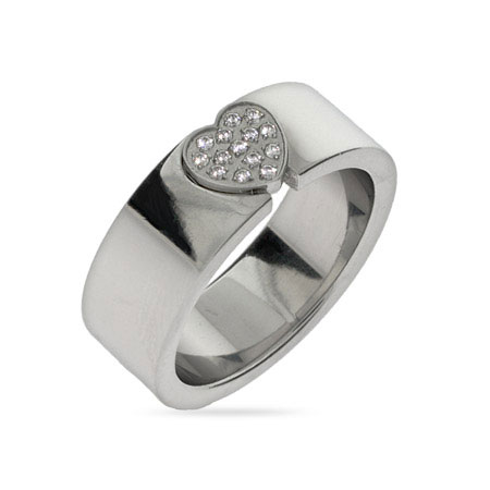 Sparkling Pave CZ Heart Engravable Message Ring