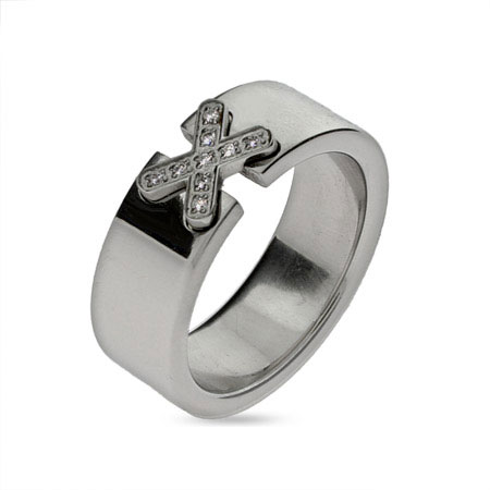 Sparking Cz X Engravable Message Ring