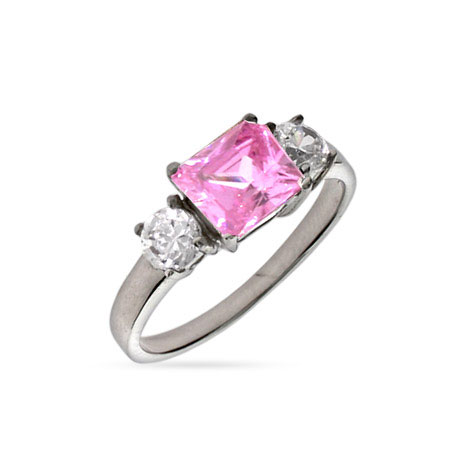 Pink and White CZ Sterling Silver Three Stone Ring