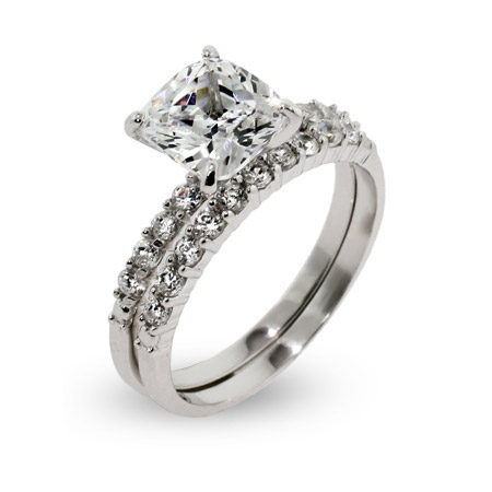 Khloe Replica Cushion Cut CZ Wedding Ring Set