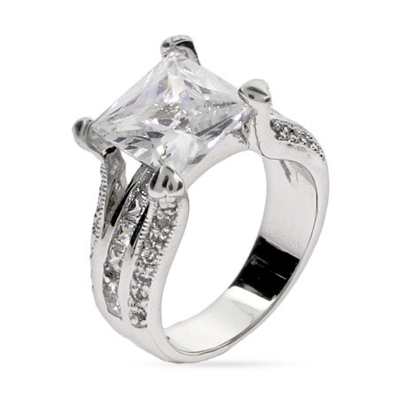 Tara's Elegant Princess Cut CZ Engagement Ring