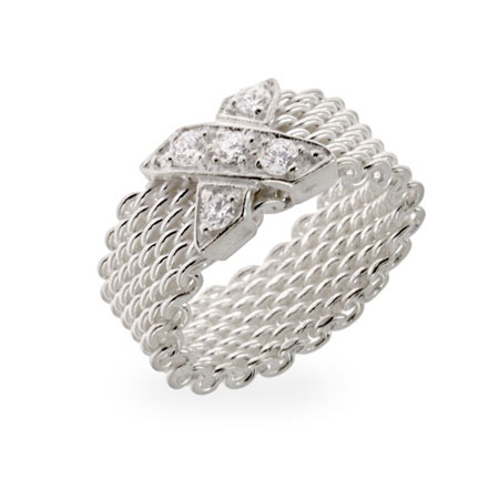 Tiffany Inspired Sterling Silver CZ X Mesh Ring