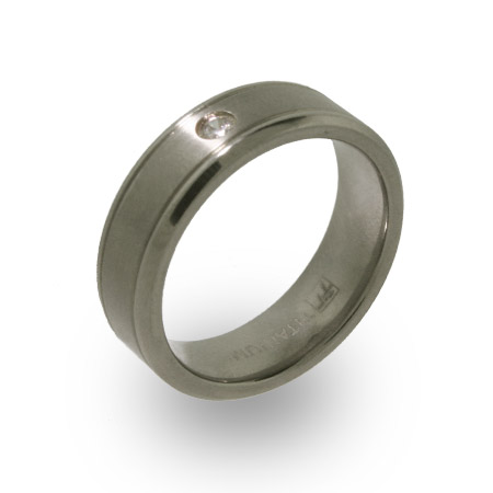 Titanium Mens Wedding Band with Single CZ