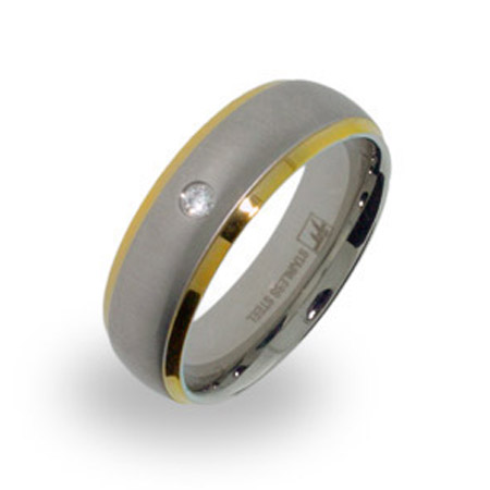 Mens Brushed Steel and Gold Wedding Band with Single CZ
