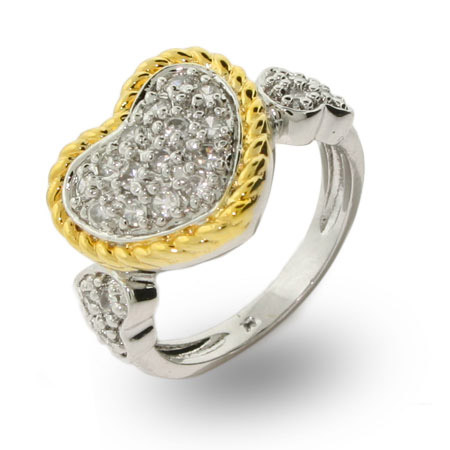 Designer Inspired Gold Cable Pave CZ Heart Ring