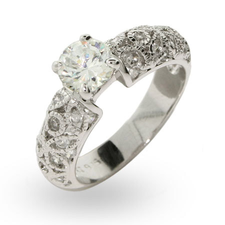 Lenora's Brilliant Cut Engagement Ring with Vintage Design Band