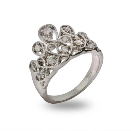 Crown of Jewels Sterling Silver and CZ Ring