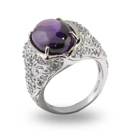 Carmela's Sparkling Pave CZ Smooth Oval Amethyst CZ Cocktail Ring