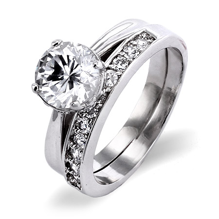 EvesAddiction.com Classic Sterling Silver CZ Solitare Engagement Ring with CZ Wedding Band at Sears.com