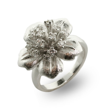 Sterling Silver and CZ Hibiscus Flower Ring