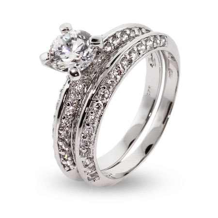 Sterling Silver Domed CZ Wedding Set
