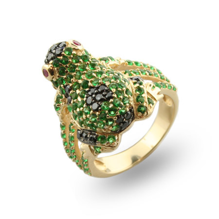 Dazzling Lucky Green Frog Gold Vermeil Cocktail Ring
