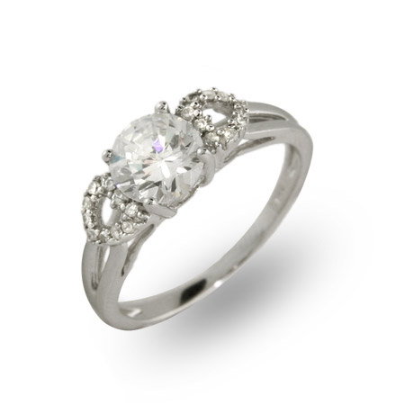 Solitare 1.25 Carat CZ Ring with Hearts