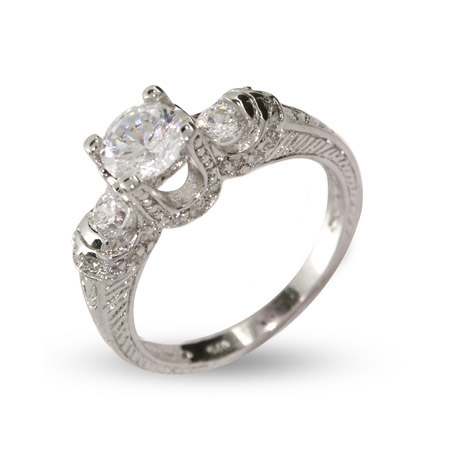 Stephanies Three Stone Brilliant Cut CZ Engagement Ring