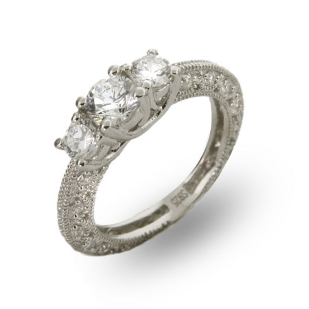 Sydneys Three Stone Vintage Style CZ Engagement Ring
