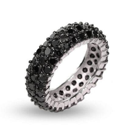 Sparkling Black CZ Triple Row Sterling Silver Band