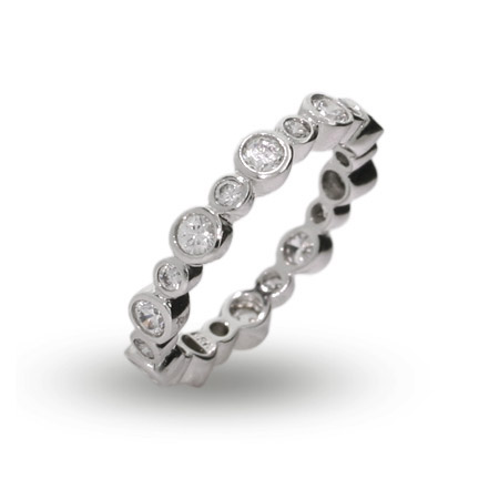 Tiffany Inspired Alternating CZ Bubbles Stackable Ring