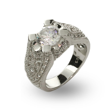Exquisite Victorian 2 Carat CZ Right Hand Ring