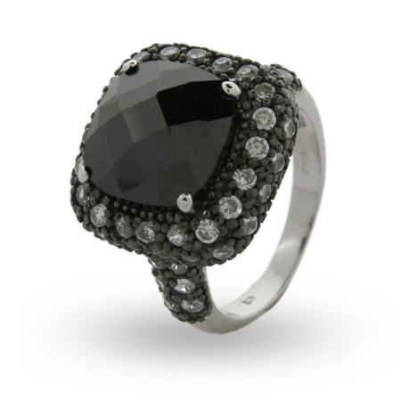 Sterling Silver Cushion Cut Onyx CZ Cocktail Ring