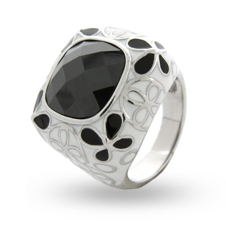 EvesAddiction.com Black & White Enamel CZ Ring - Clearance Final Sale at Sears.com