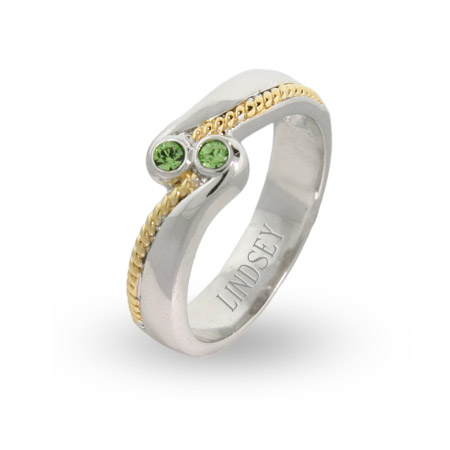 Sterling Silver and Gold Braided Birthstone Couples Ring
