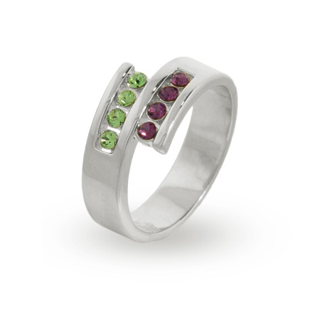 8 Stone Personalized Sterling Silver Austrian Crystal Couples Ring