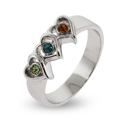Sterling Silver 3 Stone Heart Austrian Crystal Mothers Ring