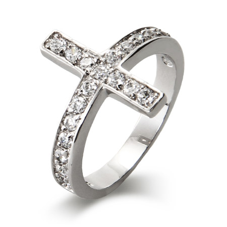 Sterling Silver CZ Sideways Cross Ring