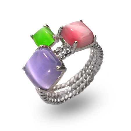 Tiffany Inspired Pastel Gemstone Sterling Silver Stackable Ring Set