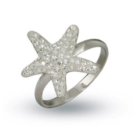 Tiffany Style Sterling Silver Swarovski Crystal Starfish Ring