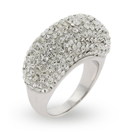 Dazzling Swarovski Crystal Dome Shaped Cocktail Ring
