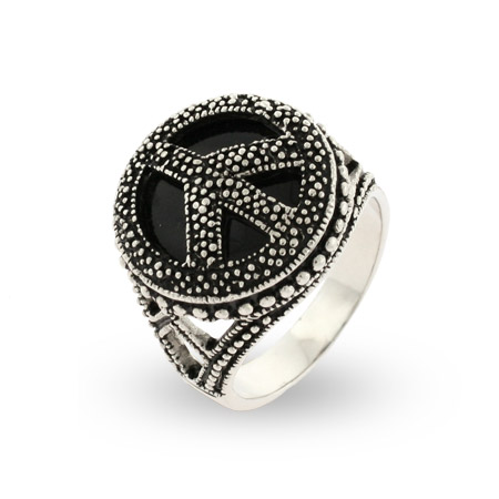 Sterling Silver Marcasite Onyx Peace Sign Ring