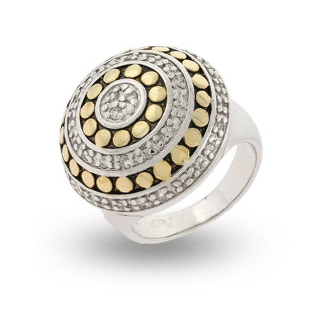 Designer Inspired Gold Dotted CZ Sterling Silver Ring