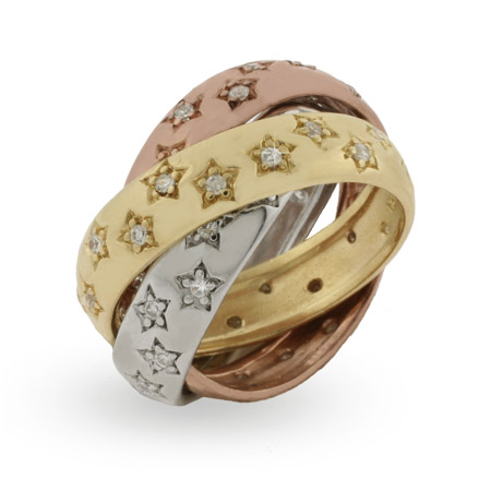 Designer Inspired Triple Tone Triple Roll Ring with CZ Stars