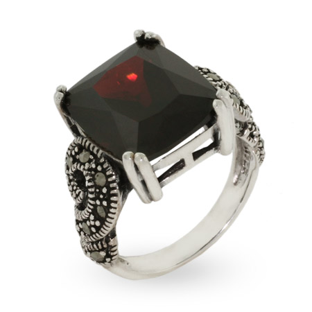Emerald Cut Garnet Cz Sterling Silver Marcasite Ring