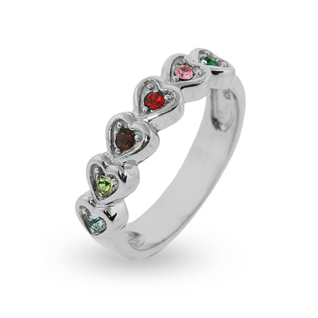 6 Stone Austrian Crystal Band of Hearts Family Birthstone Ring