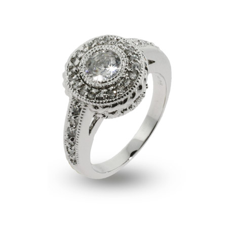 Sonia's Vintage Design Brilliant Cut CZ Engagement Ring
