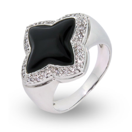 EvesAddiction.com Black Onyx Four Point CZ Ring - Clearance Final Sale at Sears.com