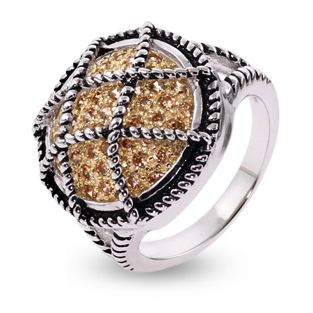 Designer Inspired Pave Champagne CZ Cable Design Ring