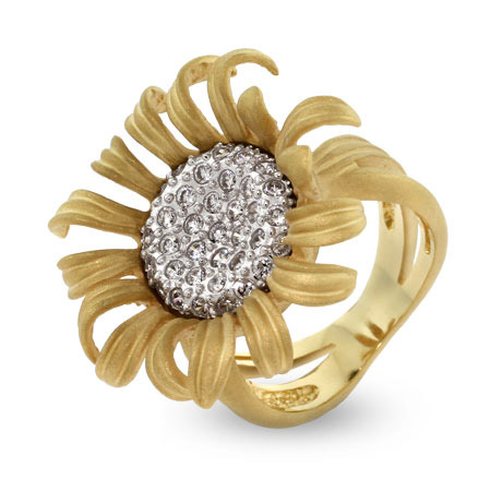 EvesAddiction.com Pave CZ Sunflower Cocktail Ring - Clearance Final Sale at Sears.com
