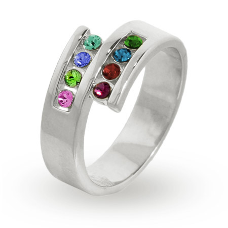 Personalized 8 Stone Sterling Silver Austrian Crystal Mother's Ring