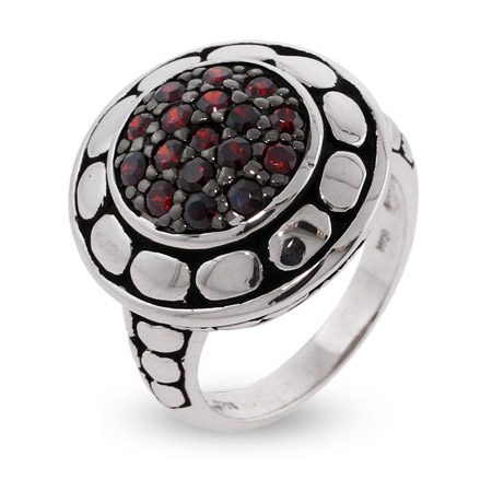 EvesAddiction.com Garnet CZ Round Silver Bali Ring - Clearance Final Sale at Sears.com
