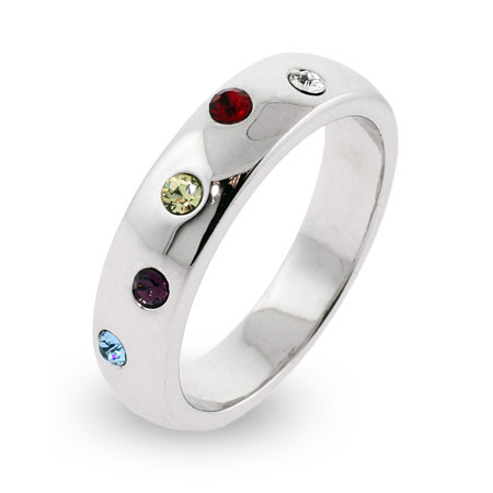 5 Stone Austrian Crystal Custom Family Birthstone Etoile Ring
