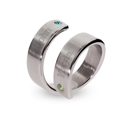Engravable Stainless Steel Couples Birthstone Ring