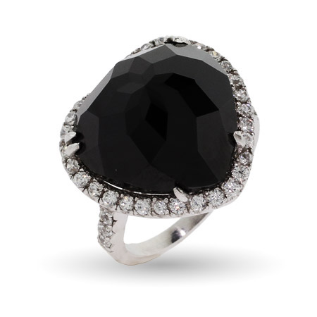 Glamorous Sparkling Black CZ Heart Cocktail Ring