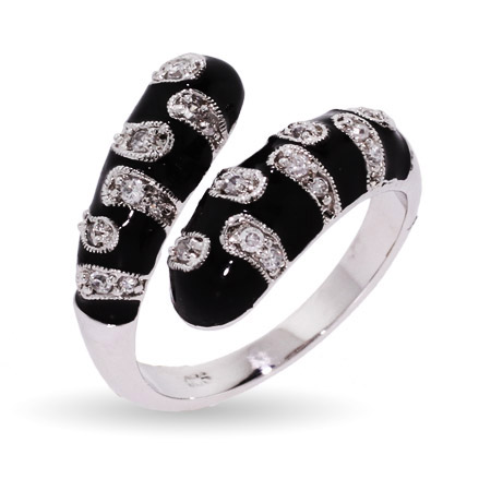 EvesAddiction.com CZ Teardrop Black Enamel Ring - Clearance Final Sale at Sears.com