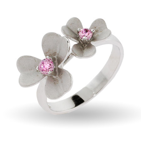 Pretty Silver and Pink CZ Dogwood Flower Ring