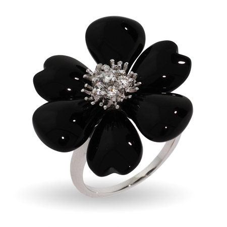 Black Onyx Magnolia CZ Sterling Silver Flower Ring