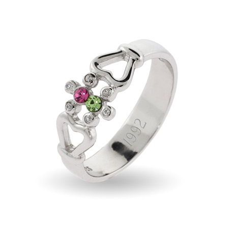 2 Stone Couples Sterling Silver Birthstone Ring with Heart Detail